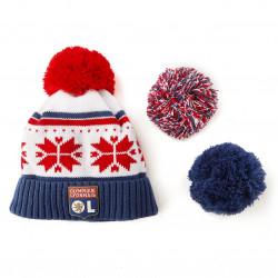 OL Pompom Hat with Flake pattern