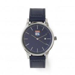 Men's watch with navy blue leather strap