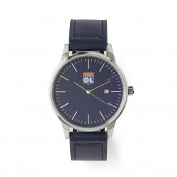 Montre homme bracelet cuir bleu marine