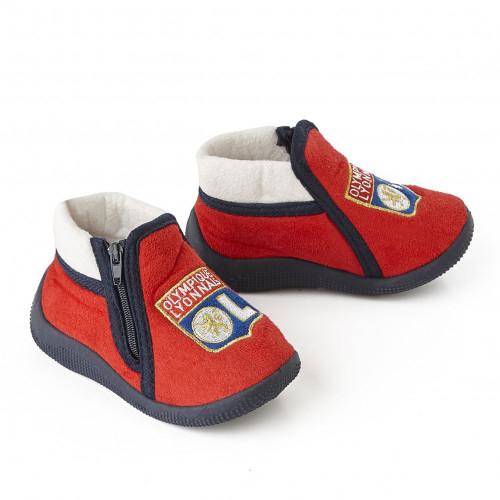Chaussons enfants Olympique Lyonnais rouge logo