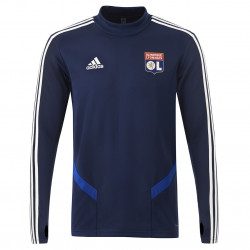 Sweat entrainement col rond bleu marine joueur Adulte OL adidas 19-20