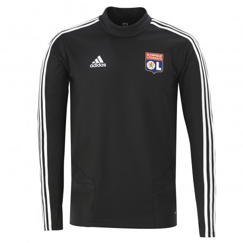 Sweat entrainement col rond noir Adulte OL adidas 19/20 - Taille - XL