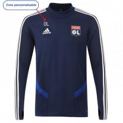 Sweat entrainement col rond bleu marine joueur Junior OL adidas 19-20