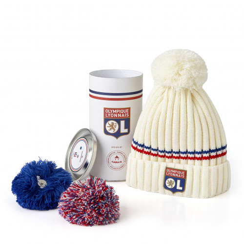 Bonnet bandes rouge et bleue Pompons Interchangeables