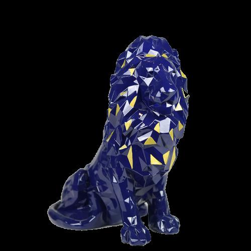 Statue lion bleu à facettes dédicacée (Lopes, Reine-Adélaide, Tousart, Cornet, Tatarusanu)