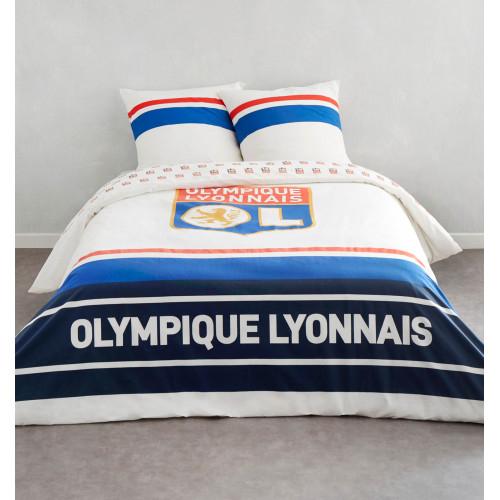 Parure de lit blanche logo 2 places