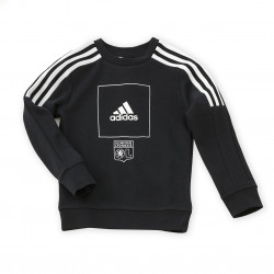 adidas Junior Black Sweatshirt with White Stripes